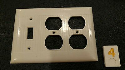 1 Ivory Vtg Ribbed Deco 3 Gang Double Outlet One Switch Sierra Cover Plate Y4