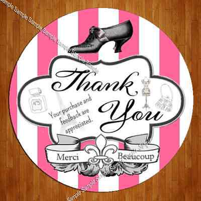"200 Large 2"" eBay Whimsical French Boutique Thank You Label Sticker"