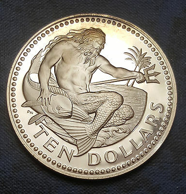 1973 Barbados 10 Dollars KM# 17a  Neptune $10 Proof 1.12oz Silver Coin