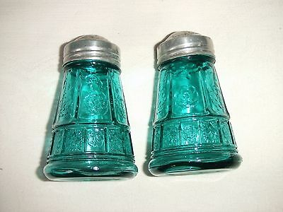 Rare Teal Ultramarine Doric & Pansy Salt and Pepper Set