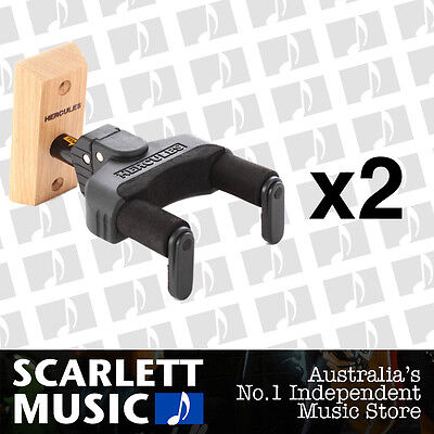 2x Hercules GSP38WB Wood Guitar Wall Mount Wooden GSP-38WB *SET OF 2 PACKS*