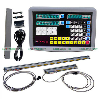 2 Axis DRO Readout & 2 TTL 9x42 Linear Scales for CNC Milling Lathe LCD Display