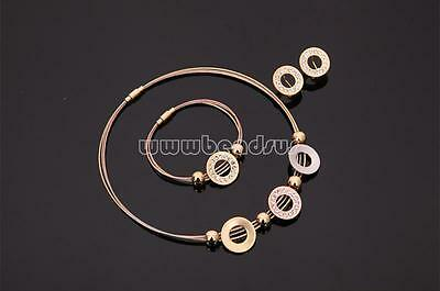 Charm Women Bracelet Earrings Necklace Flat Round Rhinestone Gold Jewelry Set