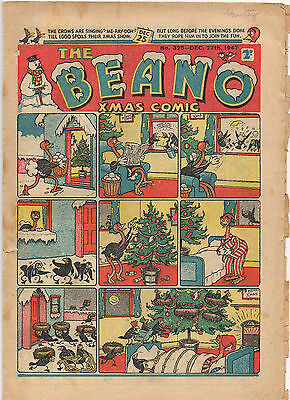 THE BEANO COMIC DEC 27th 1947 CHRISTMAS #325 EGGO LORD SNOOTY PANSY POTTER VG