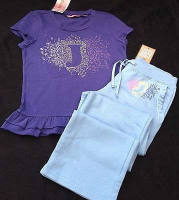 NWT Juicy Couture New Blue Cotton Tracksuit Pants & Matching T.Shirt Girls Age 8