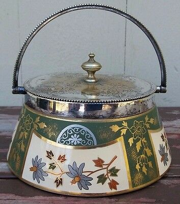 JAMES MACINTYRE - ANTIQUE ENGLISH ART POTTERY JAR w/ SILVER PLATED LID / HANDLE