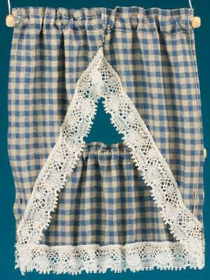 Dolls House Blue Beige Gingham Country Kitchen Curtains & Valance 1:12 Accessory