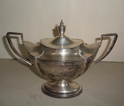 Antique Sterling Silver Sugar Bowl with Lid, Monogram 12.8 Troy Ounces