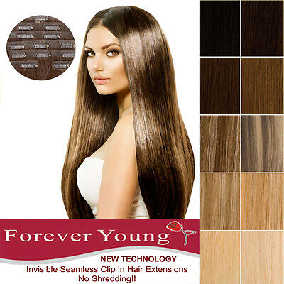 Invisible Seamless Premium Full Head Clip in Remy Human Hair Extensions