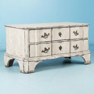 Antique 18th Century, Danish Baroque Chest of Drawers Painted White