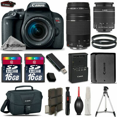 Canon EOS Rebel T7i Camera + 18-55mm STM + 75-300mm III + EXT BATT + 32GB Bundle