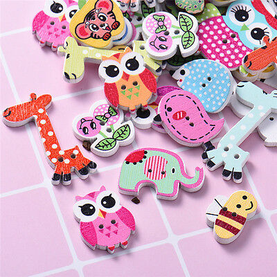 Hot 50pcs Mixed Animal Series Wooden Buttons Children DIY Craft Sewing Buttons