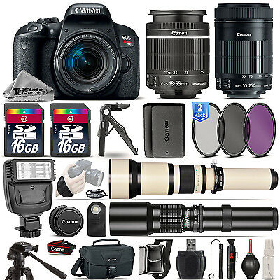 Canon EOS Rebel T7i Camera 800D + 18-55mm + 55-250mm STM + EXT BATT - 32GB Kit