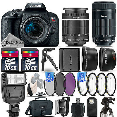 Canon EOS Rebel T7i DSLR Camera + 18-55mm + 55-250mm STM + EXT BATT - 32GB Kit