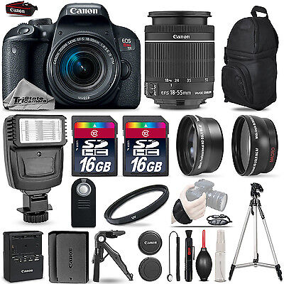 Canon EOS Rebel T7i Camera 800D + 18-55mm IS-3 Lens Kit + Flash+ 32GB + EXT BATT
