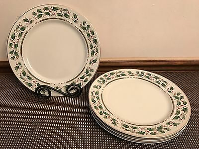 "Royal Limited ""HOLLY HOLIDAY"" Japan ~ Set of 4 ~ Dinner Plates ~ 10 3/8"""