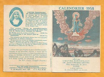 Calendar Calendrier Missions Sainte Therese 1958 Asie Chine Tonkin