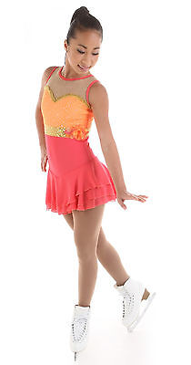 New Competition Skating Dress Elite Xpression 1528 Mango Gold AM Medium