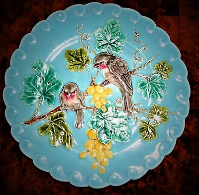 Antique French majolica sarreguemines birds