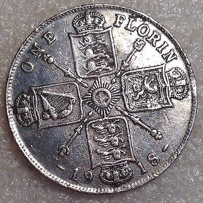 George V - Silver Florin (2 Shillings) 1918 UK Great Britain