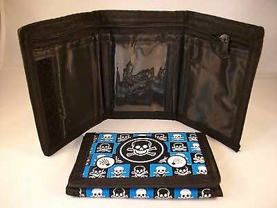 Kids Tri-Fold Nylon Wallet With Skulls & Bones ~ Blue