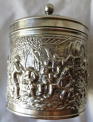 Antique Ornate Plated Silver Tea Caddy Box Vintage Repousse Dutch HH Marking