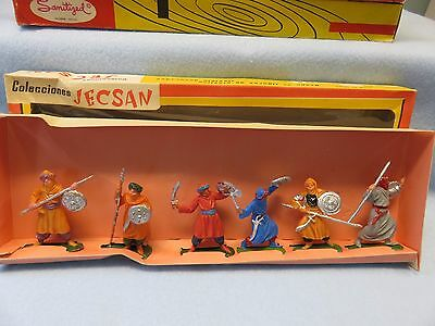 Jecsan vintage boxed set #611 Moors, 6 painted plastic figures