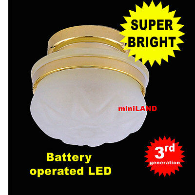 Frosted Ceiling bright battery operated LED LAMP Dollhouse miniature light 1:12