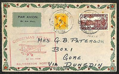 New Zealand Scott #147 & C1 Stamps Christmas Airmail Palmerston North Cover 1931