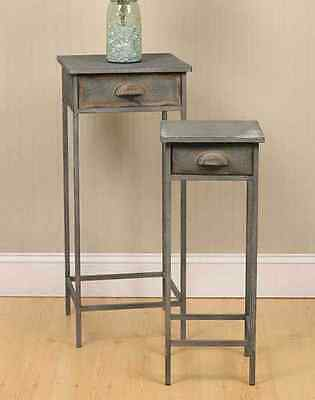 2 new Country distressed barn gray metal bedside stands w/drawers/ nice