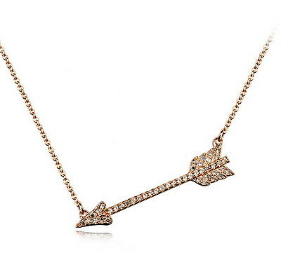 Rose Gold Filled Made With Swarovski Crystal Women's Cupid's Arrow Necklace N171