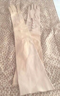 "VTG peach colored kid opera gloves, 23"" long, 3 buttons, made for Orbachs 6 1/2"