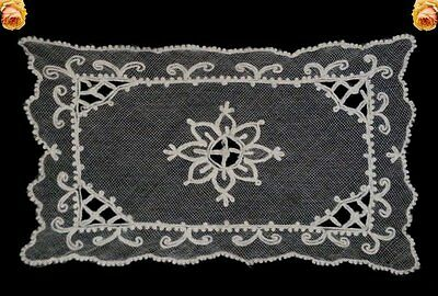 Vintage Tambour Lace Doily Embroidered Net Square Ecru Scallop