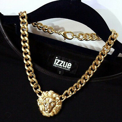 Fashion Gold Lion Head Pendant Chain Chunky Choker Statement Necklace Jewelry