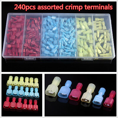 240Pcs T Terminal Insulated Nylon Electrical Wire Spade Set Connectors Terminals
