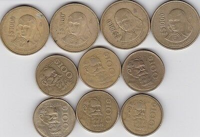 Lot of 10 Mexico Coins   4 x $1000 Peso Coins  6 x $100 Peso Coins LOOK