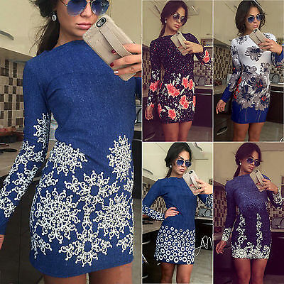 Womens Bodycon Long Sleeve Tunic Jumper Party Evening Cocktail Mini Pencil Dress