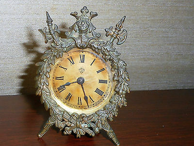 Antique Ansonia Novelty Gilt Desk Boudoir Mantel Clock A Working Original
