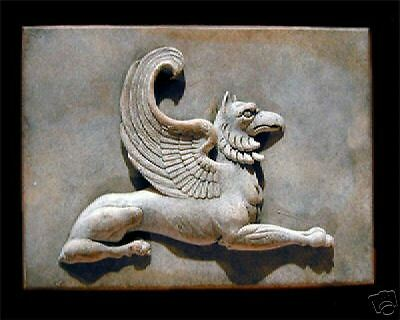 Griffin Plaque stone art sculpture home garden wall decor animal