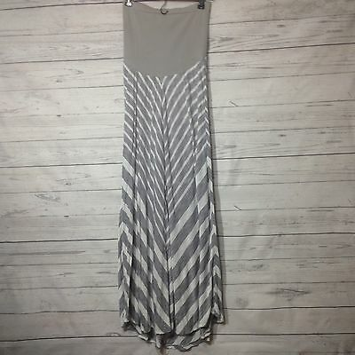 Oh Baby by Motherhood Maxi Long Skirt Grey White Striped Size M Medium