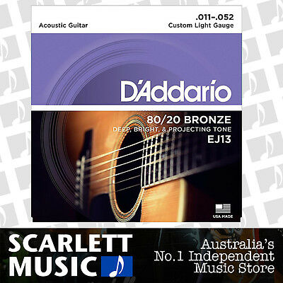 D'Addario EJ13 11-52 80/20 Custom Light Acoustic Guitar Strings Daddario EJ-13