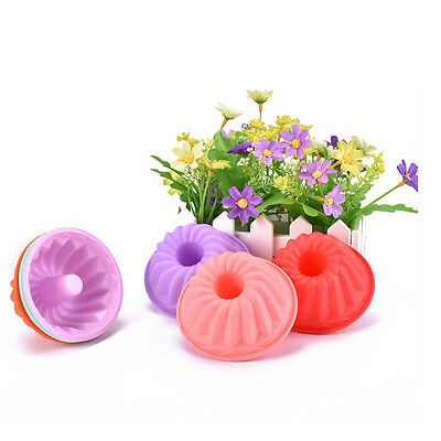 6Pcs Spiral Candy Color Silicone Mold/ Jello Pudding CupCake Baking Muffin Molds