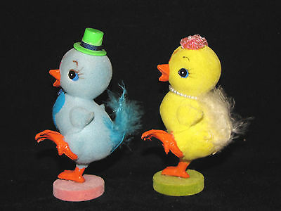 Flocked Mr & Mrs EASTER CHICK Vintage Stepping Out Pair Feather Tails