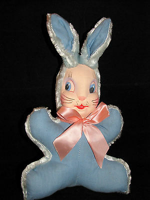 """Plush Vintage EASTER BUNNY Blue with Cloth Face 1950s 1960s  14"""" Tall"""