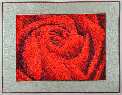 """Ready To Frame! 18"""" Brocaded Silk Embroidery Piece Valentine Rose Gift To Love ="""