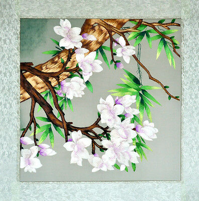 "18"" Brocaded Chinese Traditional Silk Embroidery Painting: Magnolia Spring"