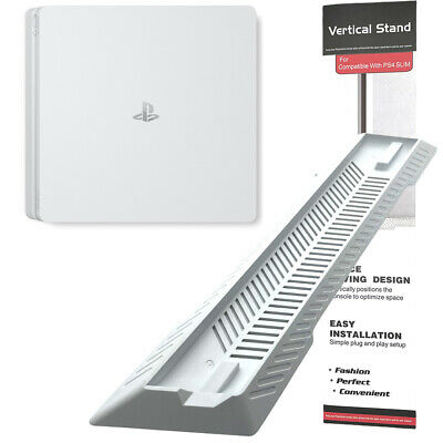 White Vented Vertical Stand Dock Holder for Playstation 4 PS4 Slim Console