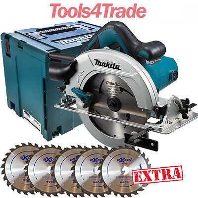 Makita HS7601J 190mm Circular Saw with Makpac Case 110V With 5 x Extra Blades