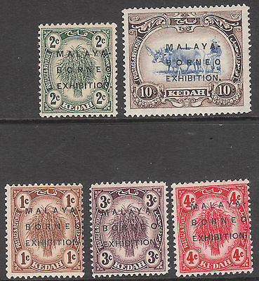 MALAYA KEDAH 1922 #41b 45c 46c 47c 48b BORNEO EXHIBITION VARIETIES MINT GV STAMP