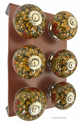 Set 6 Vintage Round Yellow Green Red Ceramic & Chrome Drawer Pulls Cabinet Knobs